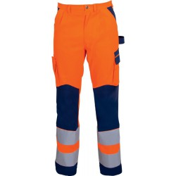 Pantalon HV, MG,  Taille  52, orange fluo/bleu